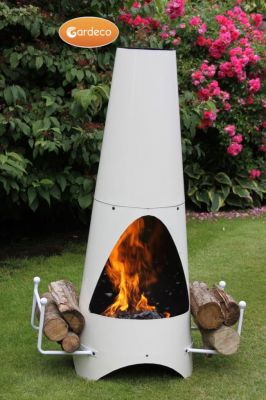 Oslo Steel Chiminea Fireplace in Ivory - H1.15m by Gardeco™