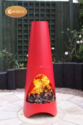 Oslo Steel Chiminea Fireplace in Red - H1.15m by Gardeco™