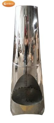 Oslo Stainless Steel Chiminea Fireplace - H1.15m by Gardeco™