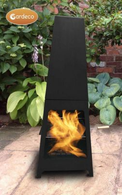 Sven Steel Chiminea with BBQ Grill and Rotisserie - H1.15m by Gardeco™