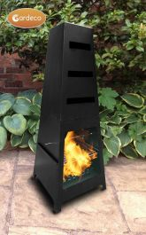 Sven Steel Art Decor Chiminea with BBQ Grill and Rotisserie - H1.15m by Gardeco™