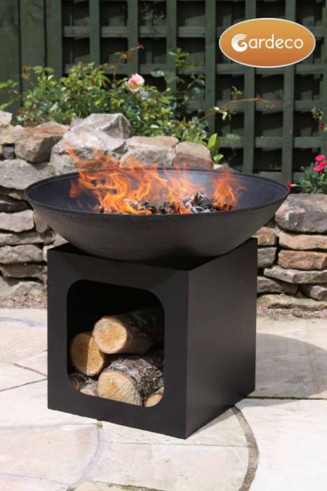 Cast Iron Fire Bowl with Log Store - D56cm by Gardeco™