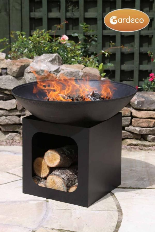 Cast Iron Fire Bowl with Log Store - H58cm by Gardeco™