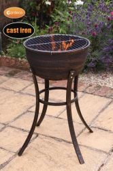 Ornamental Cast Iron Bronze Tall Fire Bowl - H77cm by Gardeco™