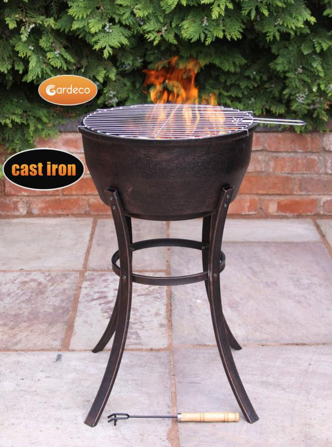 Cast Iron Tall Fire Bowl - H77cm by Gardeco™