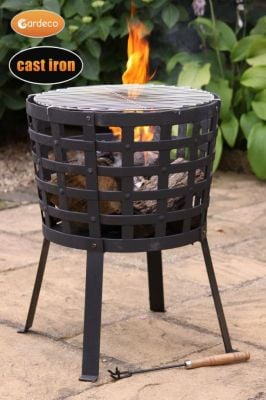 D45cm Aragon Cast Iron Fire Basket - by Gardeco™