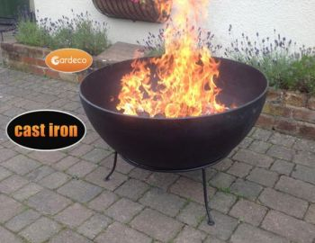 Spun Steel Fire Pit with Iron Stand - Dia91cm by Gardeco™