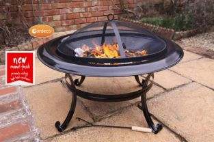Dia 74cm Cassio Steel Fire Pit Black - by Gardeco™