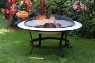 74cm Cassio Steel Fire Pit Ivory - by Gardeco™