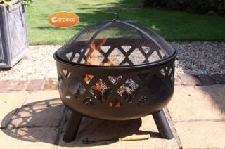 D61cm Tara Steel Fire Pit with Criss Cross Decor - by Gardeco™