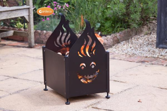 Steel Fire Pit with Face Cut Outs - H57cm by Gardeco�