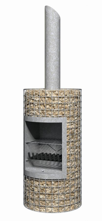 Stone-Filled Steel Cylinder Chiminea BBQ - H1m
