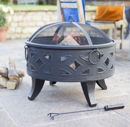 66cm Diamond Firebowl with Grill - by La Hacienda™
