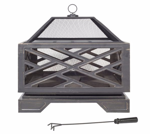 66cm Brooklyn Steel Firepit with Grill - by La Hacienda™