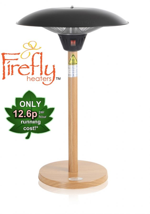 2.1kW IP44 Tabletop Heater with Beech Wood Effect Stand and Base by Firefly™