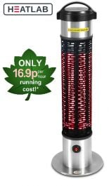 1.2kW IP55 Freestanding Electric Patio Heater with Safety Mesh by Heatlab®