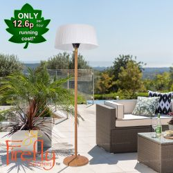 2.1kW IP44 White Lampshade Heater with Oak Wood Effect Stand and Base by Firefly­™