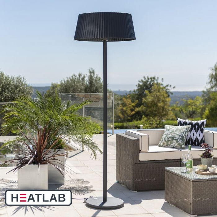 2.1kW IP44 Black Lampshade Heater with Black Stand and Base by Heatlab®