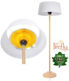H2.24m 2.1kW IP44 White Lampshade Heater with Beech Wood Effect Stand and Base by Firefly™