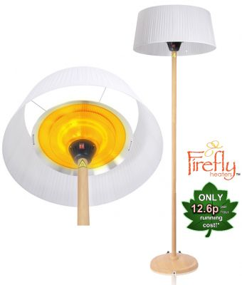 2.1KW White Lampshade Heater with Beech Wood Effect Stand and Base by Firefly™