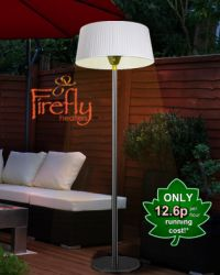 2.1KW White Lampshade Heater with Stainless Steel Stand and Base by Firefly­™