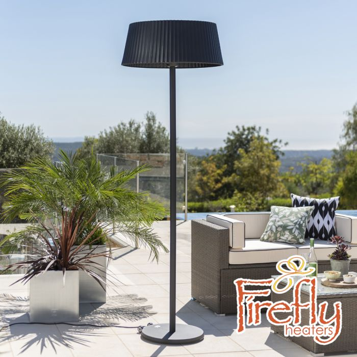 2.1KW IP44 Black Lampshade Heater with Oak Wood Effect Stand and Base by Firefly­™