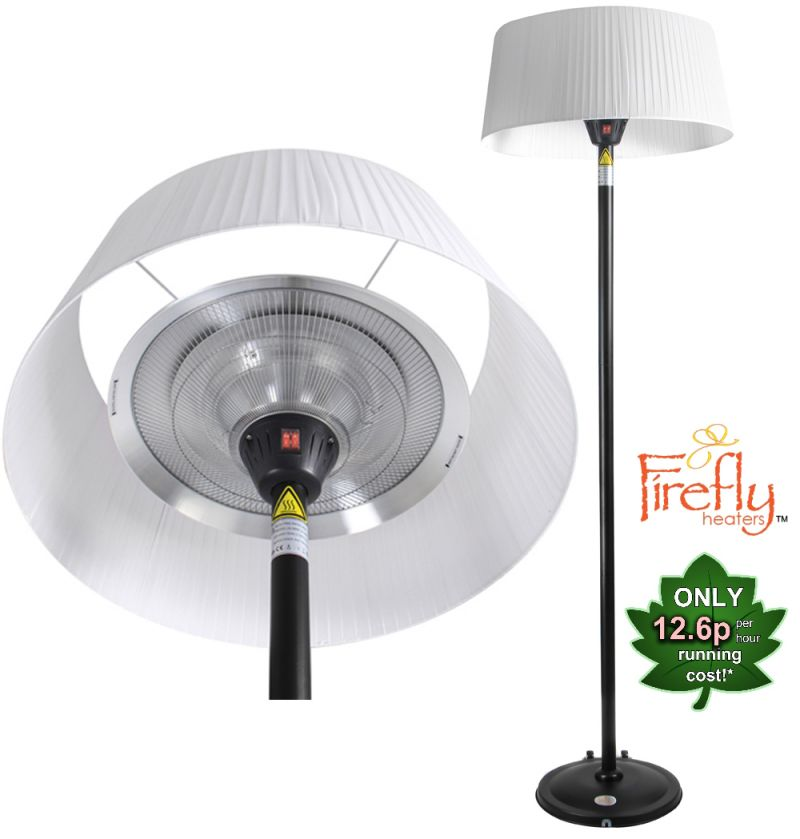 Firefly­™ White Lampshade Heater with Black Stand and Base 2.1KW