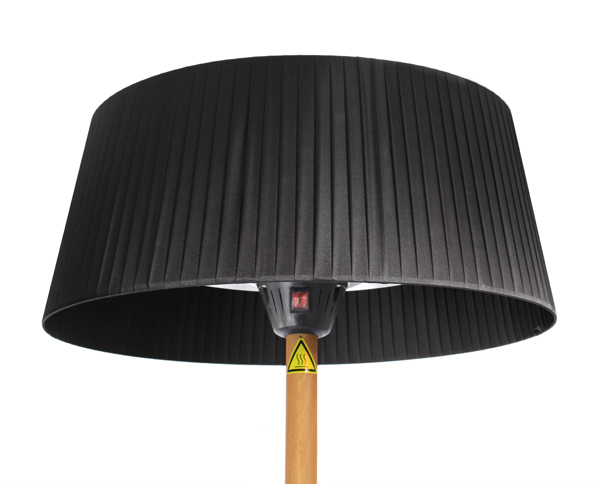 2.1KW Black Lampshade Heater with Oak Wood Effect Stand and Base by Firefly­™