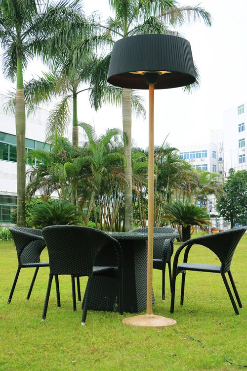 2 1kw Black Lampshade Heater With Beech Wood Effect Stand
