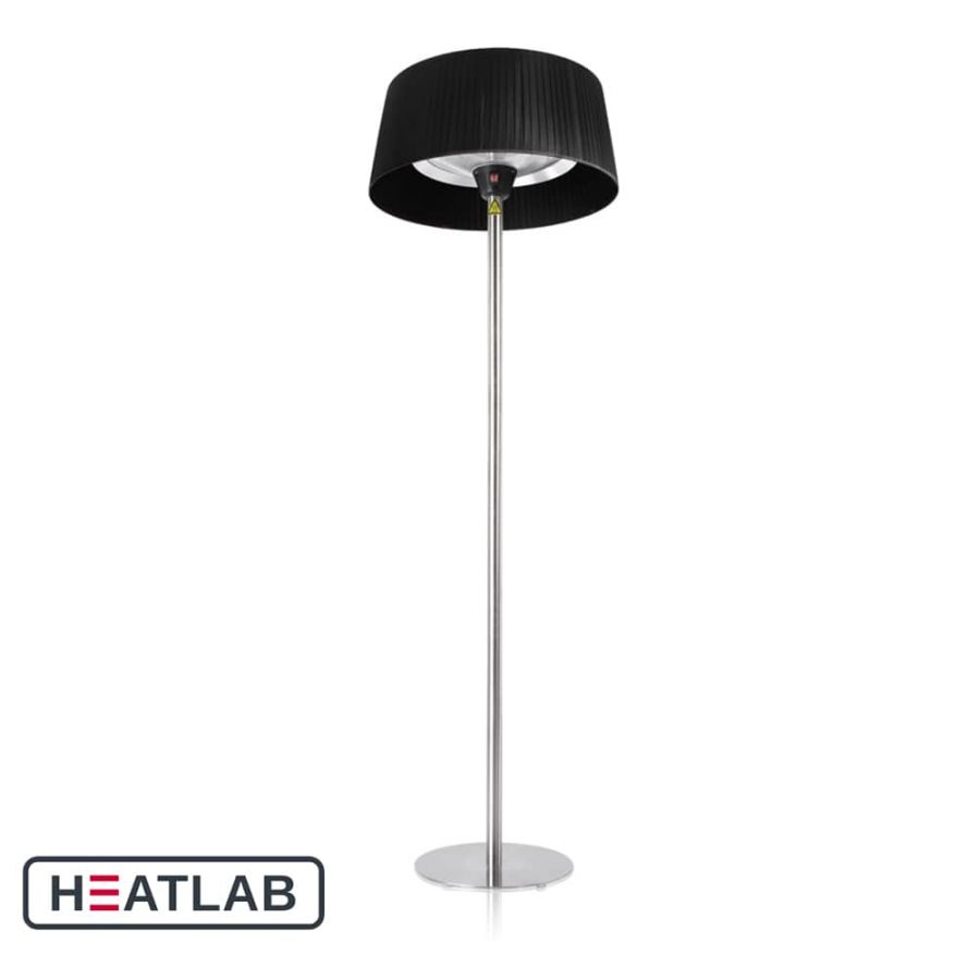 2.1kW IP44 Black Lampshade Heater with Stainless Steel Stand and Base by Heatlab®