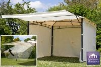 3m x 3m Clevedon Ivory Metal Gazebo with Awning and Side Walls