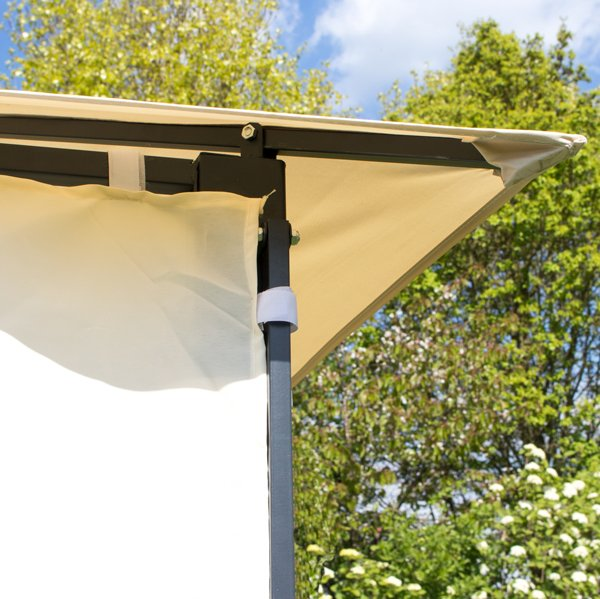 3m X 3m Clevedon Ivory Metal Gazebo With Awning And Side