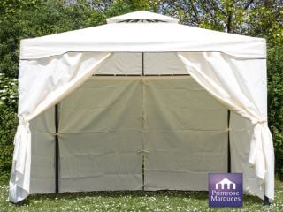 3m x 3m Chatsworth Ivory Steel Frame Gazebo with Side Walls