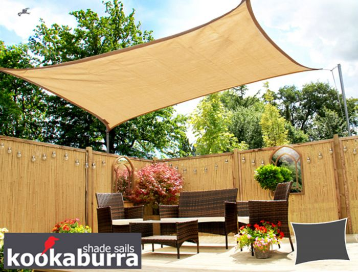 Kookaburra® 5mx4m Rectangle Sand Breathable Party Shade Sail (Knitted 185gsm)