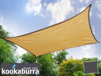 Kookaburra 4mx3m Rectangle Sand Breathable Party Shade Sail (Knitted 185g)