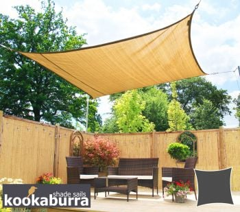 Kookaburra® 3.6m Square Sand Breathable Party Shade Sail (Knitted 185g)