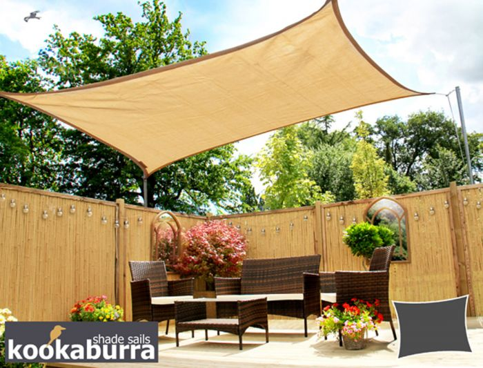 Kookaburra® 3m Square Sand Breathable Party Shade Sail (Knitted 185gsm)