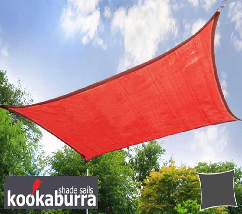 Kookaburra 5.4m Square Red Breathable Party Shade Sail (Knitted 185g)