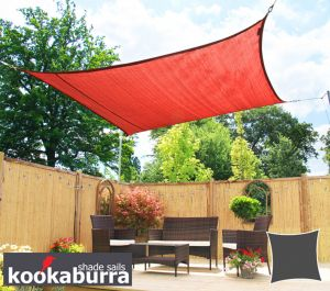 Kookaburra® 3m Square Red Breathable Party Shade Sail (Knitted 185gsm)