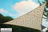 Kookaburra 3m Triangle Rose Pattern Ivory Waterproof Woven Shade Sail