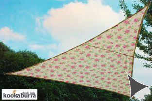Kookaburra® 3m Triangle Rose Pattern Waterproof Woven Shade Sail