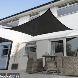 Kookaburra® 5mx4m Rectangle Black Waterproof Woven Shade Sail
