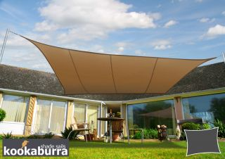 Kookaburra® 3mx2m Rectangle Mocha Brown Party Sail Shade (Woven - Water Resistant)