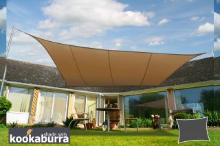 Kookaburra® 6mx5m Rectangle Mocha Brown Party Sail Shade (Woven - Water Resistant)