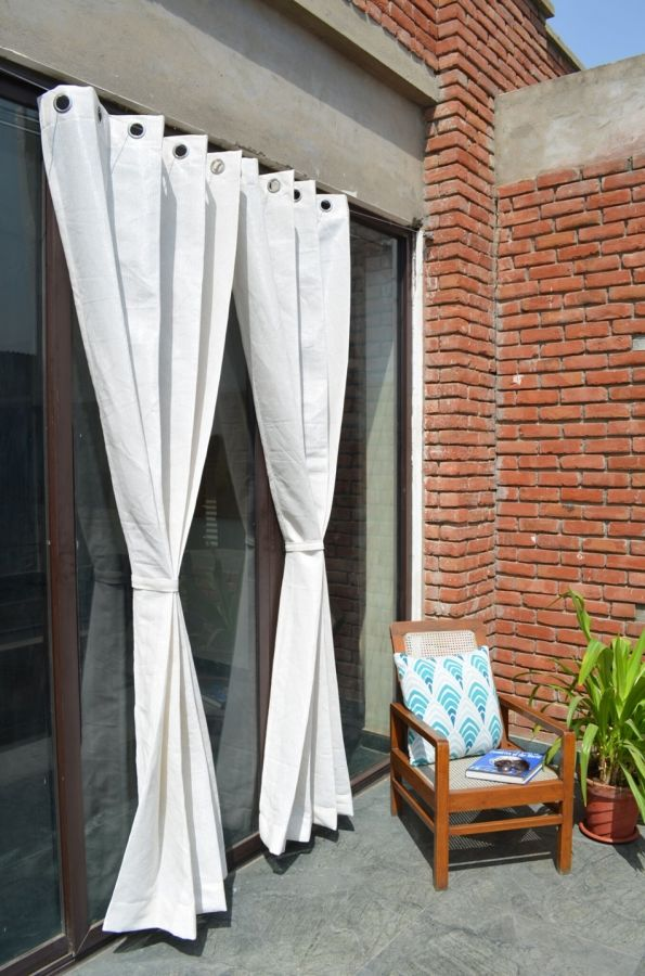 Pair of Polar White Outdoor Curtains with Stainless Steel Eyelets - 185gsm Knitted - H: 2.28m (7.4ft) x W: 2.74m (9ft)