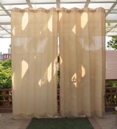 Pair of Sand Outdoor Curtains with Stainless Steel Eyelets - 210gsm Knitted - H: 2.28m (7.4ft) x W: 2.74m (9ft)