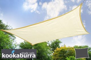 Kookaburra® 5mx4m Rectangle Ivory Breathable Party Shade Sail (Knitted 185gsm)