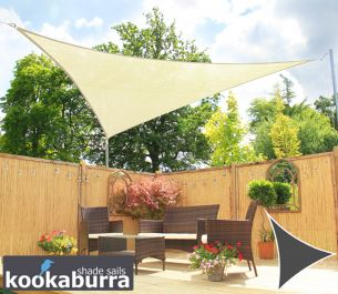 Kookaburra® 2m Triangle Ivory Breathable Party Shade Sail (Knitted 185gsm)