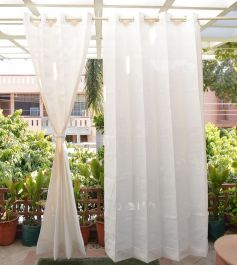 Pair of Ivory Outdoor Curtains with Stainless Steel Eyelets - 185gsm Knitted - H: 2.28m (7.4ft) x W: 2.74m (9ft)