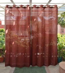 Pair of Terracotta Outdoor Curtains with Stainless Steel Eyelets - 185gsm Knitted - H: 2.28m (7.4ft) x W: 2.74m (9ft)